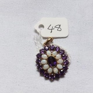 9ct amethyst and opal pendant