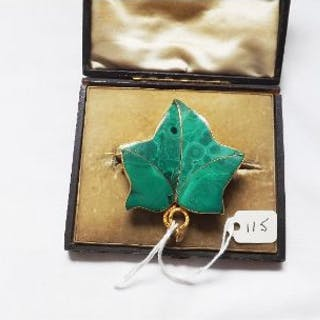 LARGE GOLD MALACHITE LEAF brooch boxed 38.4g inc