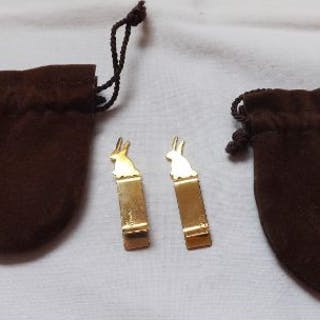 Pair 14ct gold Tiffany book markers in the form of a rabbit motif 5.9g
