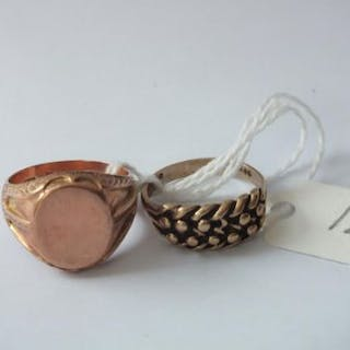 9ct gold keeper ring and a 9ct. gold signet ring