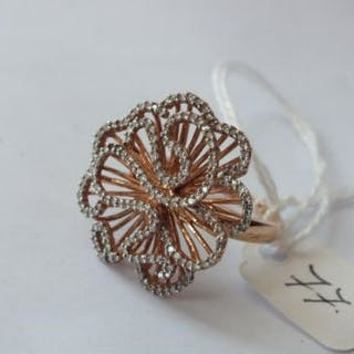 Large fancy 9ct diamond ring the top measuring 2.5cm across approx ring size N