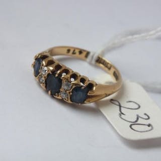 18ct gold 7 stone sapphire & diamond ring