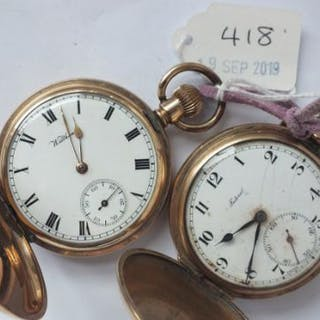 Two gents rolled gold hunter pocket watches, one by Waltham and both