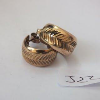 Pair of 9ct. gold wide hoop earring 3.6g
