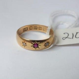18ct three stone ruby & diamond gypsy ring approx size M 2.8g inc