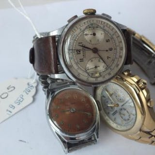 Three gents wrist watches (Leonidas chronograph watch, Citizen three