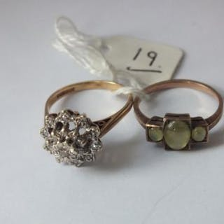 A three stone moonstone ring and a diamond cluster ring in 9ct 6g.