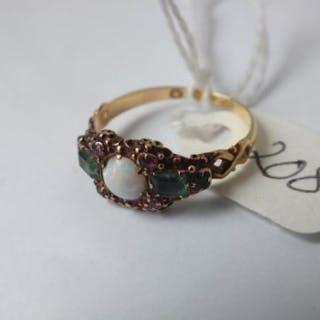 Antique opal ruby & emerald three stone ring