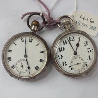 Two gents silver pocket watches (one by Dennison) both with seconds dial