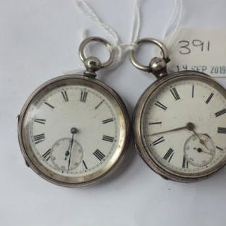 Two gents silver pocket watches, both with seconds dial