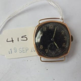 Gents 9ct. black faced wrist watch with seconds dial