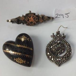 Victorian silver brooch, cut steel earring and heart