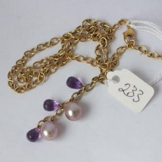 9ct necklace with pearl & amethyst drops 12.9g