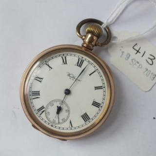 Gents rolled gold Waltham pocket watch with secondsdial