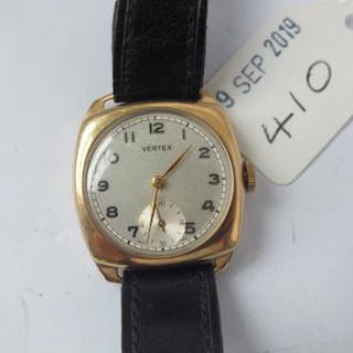 Gents 9ct. Vertex wrist watch with seconds dial and leather strap