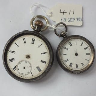 Gents silver pocket watch and ladies silver fob watch (A/F)