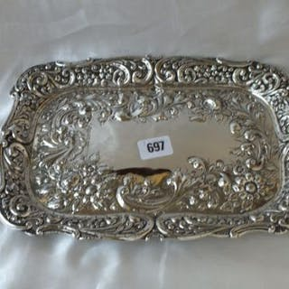 Dressing table tray of rectangular outline, embossed and pierced with