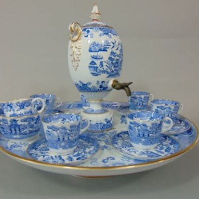 An unusual 19th century Copeland Lazy Susan with blue and white printed