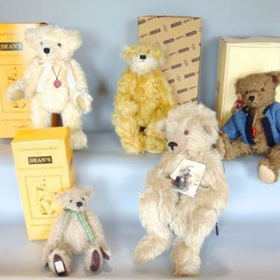 A collection of five boxed limited edition Teddy Bears with certificates