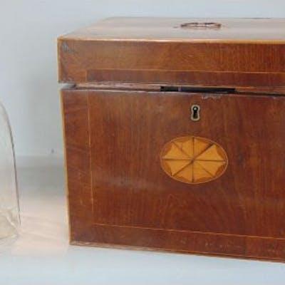 Good 19th century mahogany and boxwood inlaid decanter box, the hinged