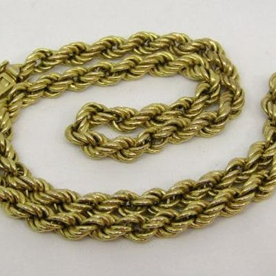 9ct rope twist necklace, 40.5cm long approx, 12.5g