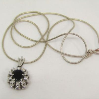 14ct white gold sapphire and diamond cluster pendant, 2.9g, hung on