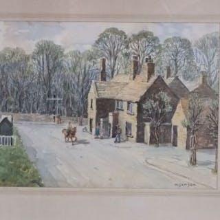 W Samson (20th century British school) - Village street scene with