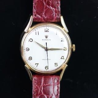 GENTLEMEN'S ROLEX PRECISION 18CT GOLD VINTAGE WRISTWATCH, circular