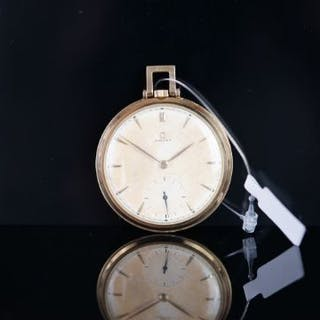 VINTAGE OMEGA 14CT POCKET WATCH, circular patina salmon dial with