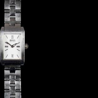 LADIES HUGO BOSS, rectangular white dial, 18mm stainless steel case