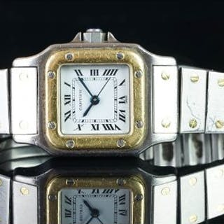 CARTIER BI COLOUR SANTOS WRISTWATCH, square white dial with Roman