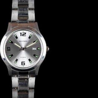 SEKONDA QUARTZ WATCH, silvered dial, luminous hour makers, stainless