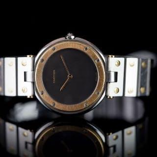 CARTIER SANTOS RONDE BI COLOUR, circular grey dial, gold hands and