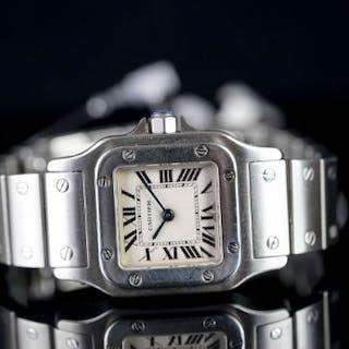 LADIES CARTIER SANTOS GALBEE 1565 SN799256, square, silver dial with