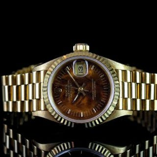 LADIES ROLEX OYSTER PERPETUAL DATEJUST 18CT GOLD WOOD DIAL WRISTWATCH