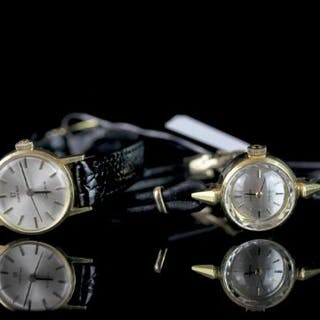PAIR OF LADIES OMEGA LADY MATIC AND GOLD WRISTWATCHES, omega ladymatic