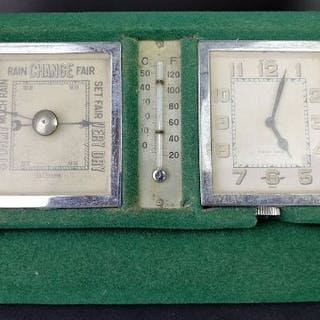 LE COULTRE 8 DAY TRAVEL CLOCK AND BAROMETER IN ORIGINAL FELT TRAVEL