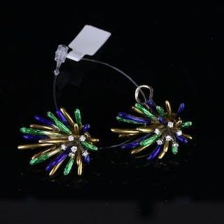 Pair of Vintage Diamond and Enamel spray clip on earrings, six small