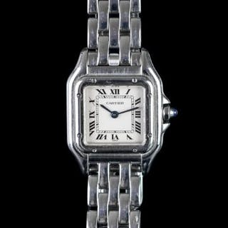 LADIES CARTIER PANTHERE 1320 SN607545UF, square, silver dial with