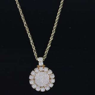 Diamond cluster pendant, heavy diamond set circular pendant, bombe