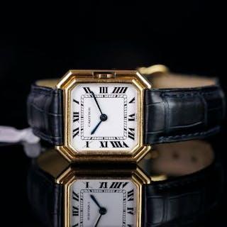 GENTLEMEN'S CARTIER VINTAGE WRISTWATCH, square white dial with roman