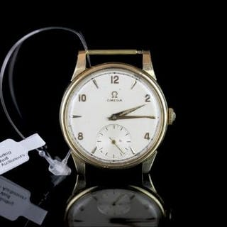 GENTLEMEN'S OMEGA 18CT GOLD WRISTWATCH, circular silver dial with