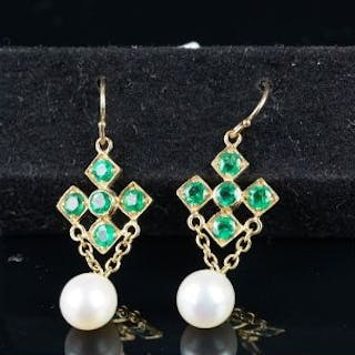 NEW OLD STOCK, Emerald and pearl drop earrings, five round cut emerald