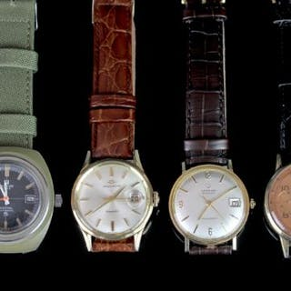 GROUP OF FOUR VINTAGE WATCHES INCL TISSOT CERTINA MOVADO AND CHRONOGRAPH