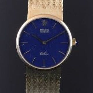 LADIES' ROLEX CELLINI 18K GOLD WRISTWATCH, circular blue dial with