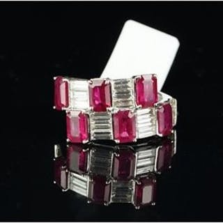 Ruby and diamond cocktail ring, six rectangular cut rubies set with