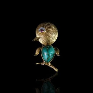18CT TURQUOISE DUCK BROOCH, with ruby and diamond set eyes,total weight