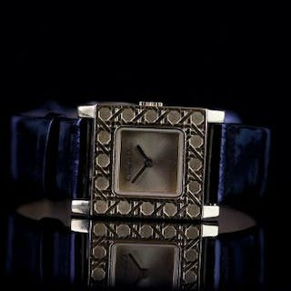 LADIES CHRISTIAN DIOR WRISTWATCH W/ BOX, square gold dial with gold