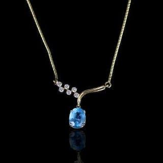 Blue Topaz & diamond set necklace, 1 blue topaz measuring approximately