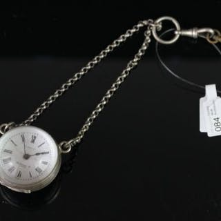 EARLY 20TH CENTURY GLASS AND METAL PENDANT GLOBE WATCH,white dial